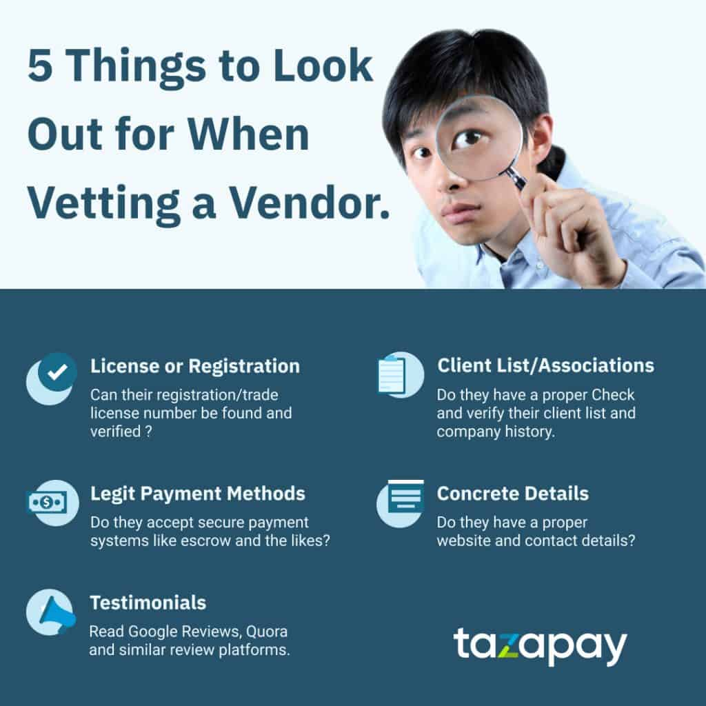 Infographic on 5 best qualities to look out for to determine whether a company or vendor is legit