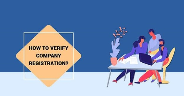 Illustration of 3 people discussing about how to verify a company registration over a table